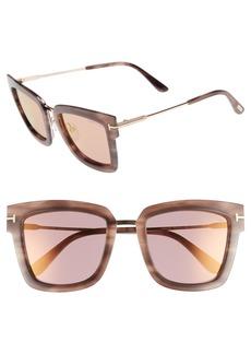 Tom Ford Lara 52mm Mirrored Square Sunglasses