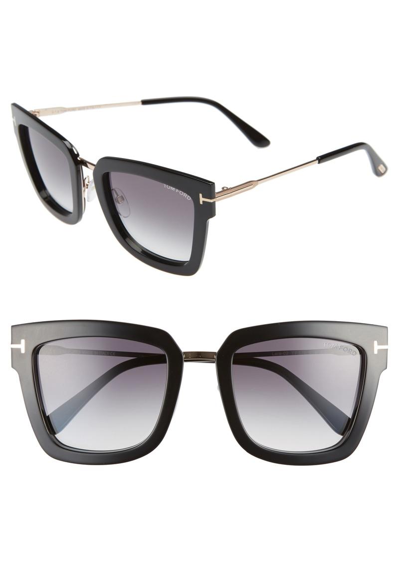 b168eb654b84 Tom Ford Tom Ford Lara 52mm Mirrored Square Sunglasses