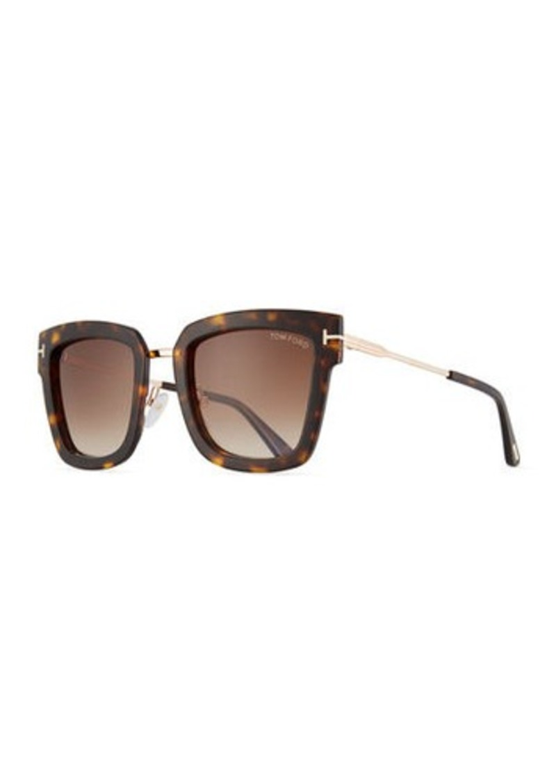 TOM FORD Lara Acetate & Metal Square Sunglasses