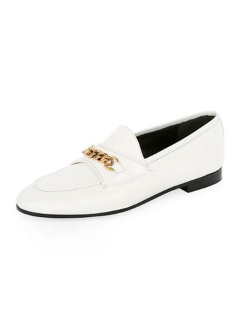 TOM FORD Leather Loafers with Chain Detail