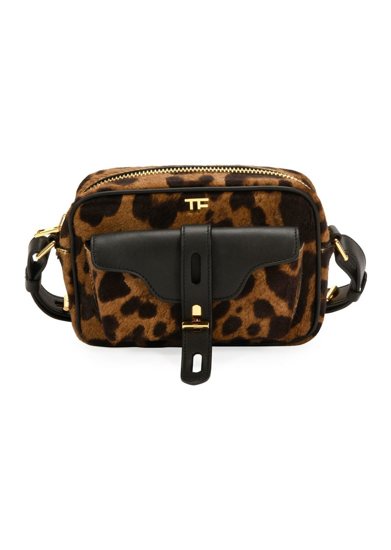 TOM FORD Leopard Calf Hair Camera Crossbody Bag
