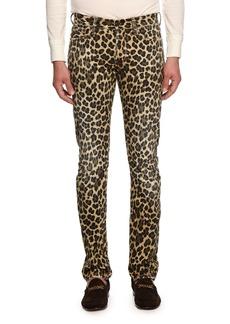 TOM FORD Leopard-Print Slim-Fit Denim Jeans