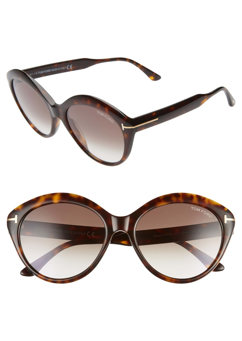 Tom Ford Maxine 56mm Gradient Round Sunglasses