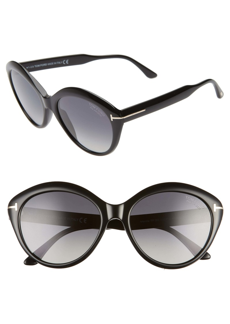 Tom Ford Maxine 56mm Polarized Round Sunglasses