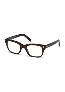 TOM FORD Men's Blue Light-Blocking Rectangle Acetate Optical Frames