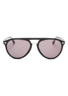 Tom Ford Men's Burton Brow Bar Aviator Sunglasses, 56mm