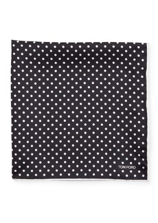 TOM FORD Men's Dotted Silk Pocket Square  Black/White