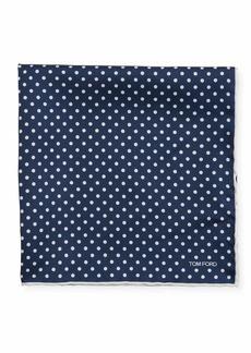 TOM FORD Men's Dotted Silk Pocket Square  Navy/White