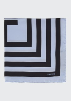 TOM FORD Men's Geo-Print Silk Pocket Square