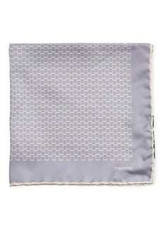 TOM FORD Men's Geometric Silk Pocket Square  Light Purple