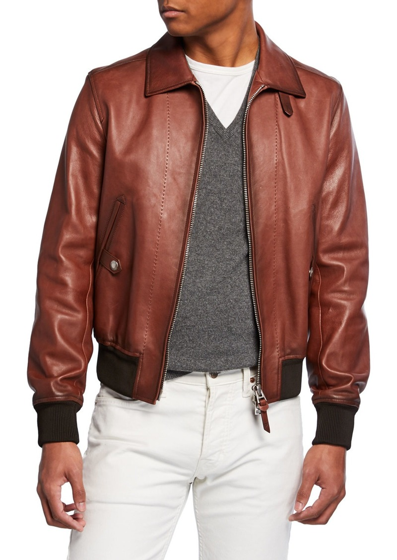 TOM FORD Men's Leather Zip-Front Bomber Jacket