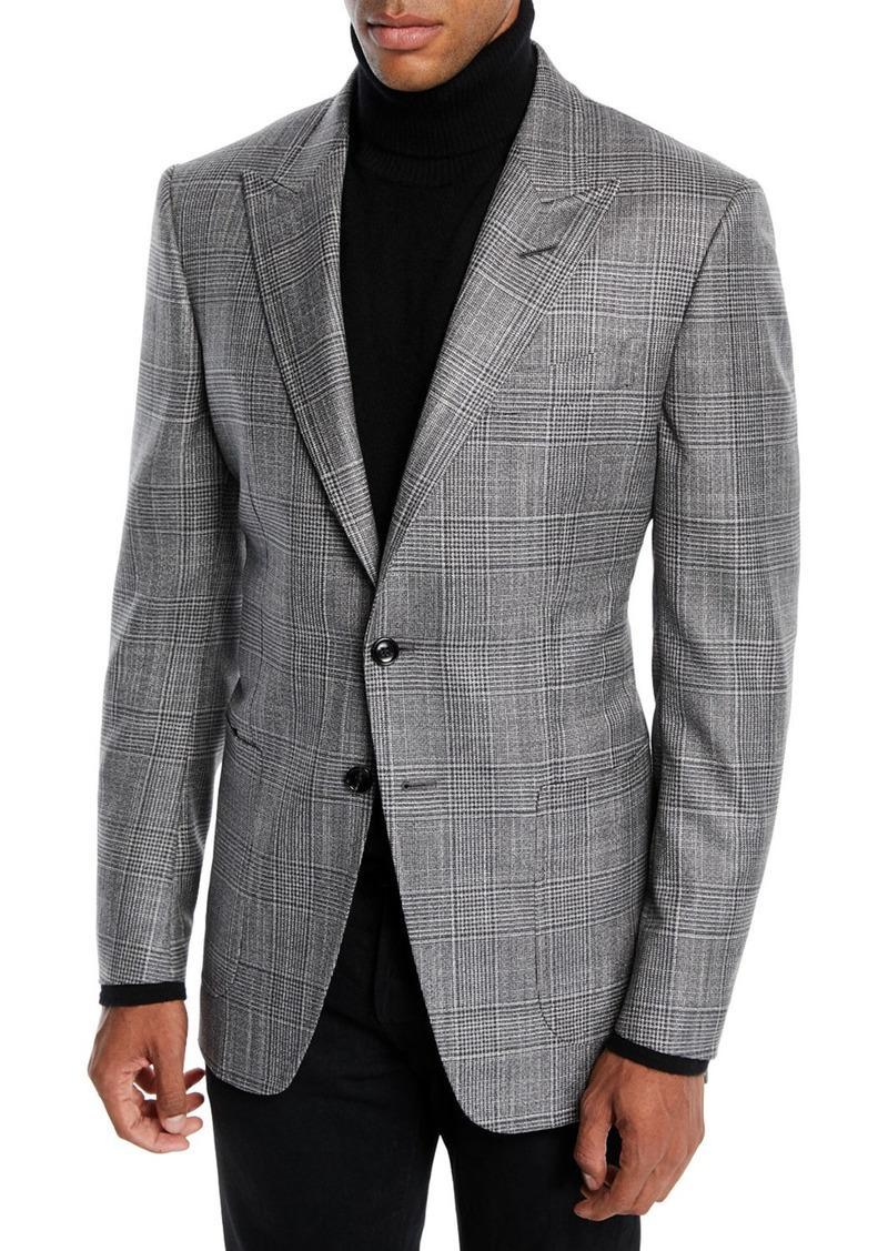 TOM FORD Men's O'Connor Wool-Silk Prince of Wales Plaid Blazer Jacket