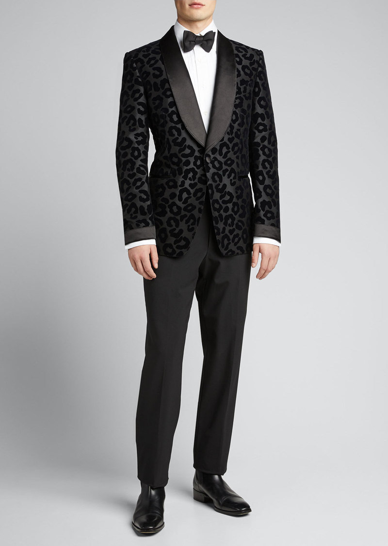 TOM FORD Men's Peak-Lapel Leopard-Flock Shelton Dinner Jacket