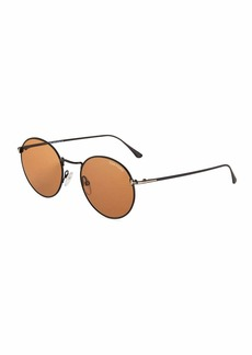 TOM FORD Men's Ryan Round Metal Sunglasses  Brown Pattern