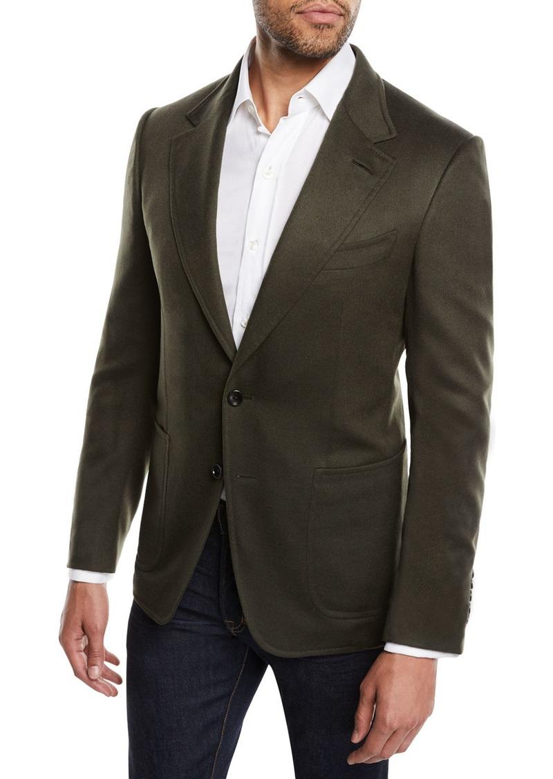 TOM FORD Men's Shelton Brushed Cashmere Cardigan Jacket