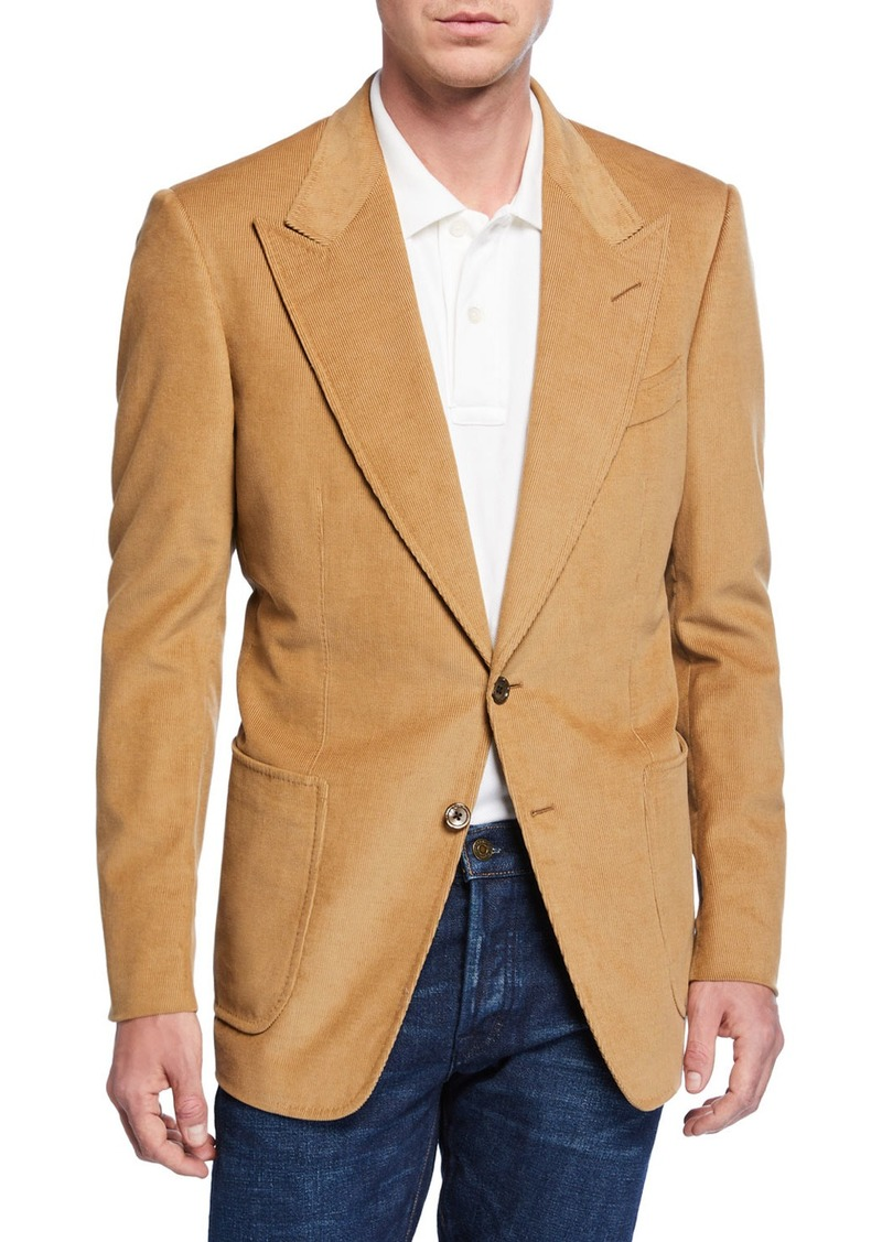 TOM FORD Men's Shelton Corduroy Two-Button Jacket  Beige