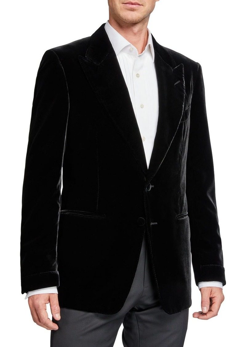 TOM FORD Men's Shelton Peak-Lapel Liquid Velvet Jacket