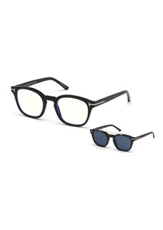 TOM FORD Men's Square Optical Glasses w/ Clip on Blue Block Lenses