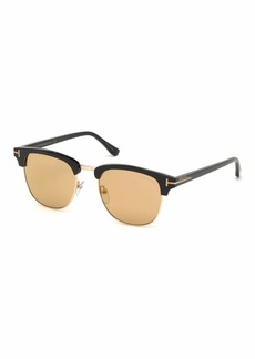TOM FORD Men's Tom N.17 Half-Rim Horn Sunglasses with Photochromic Flash Lenses