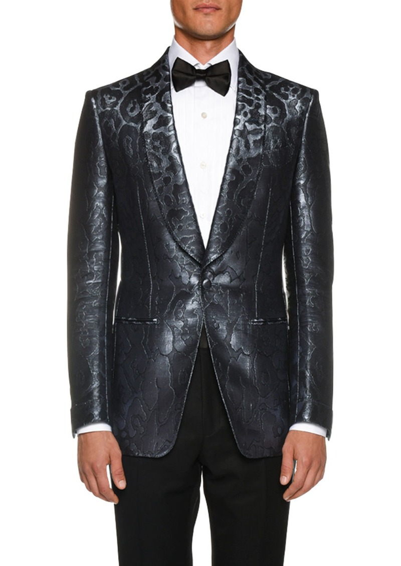 TOM FORD Men's Tonal-Print Satin Cocktail Dinner Jacket