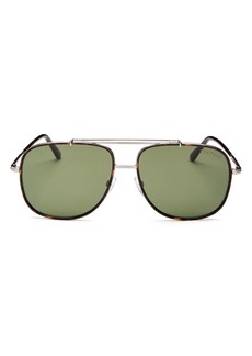 Tom Ford Men's Benton Vintage-Luxe Brow Bar Aviator Sunglasses, 58mm
