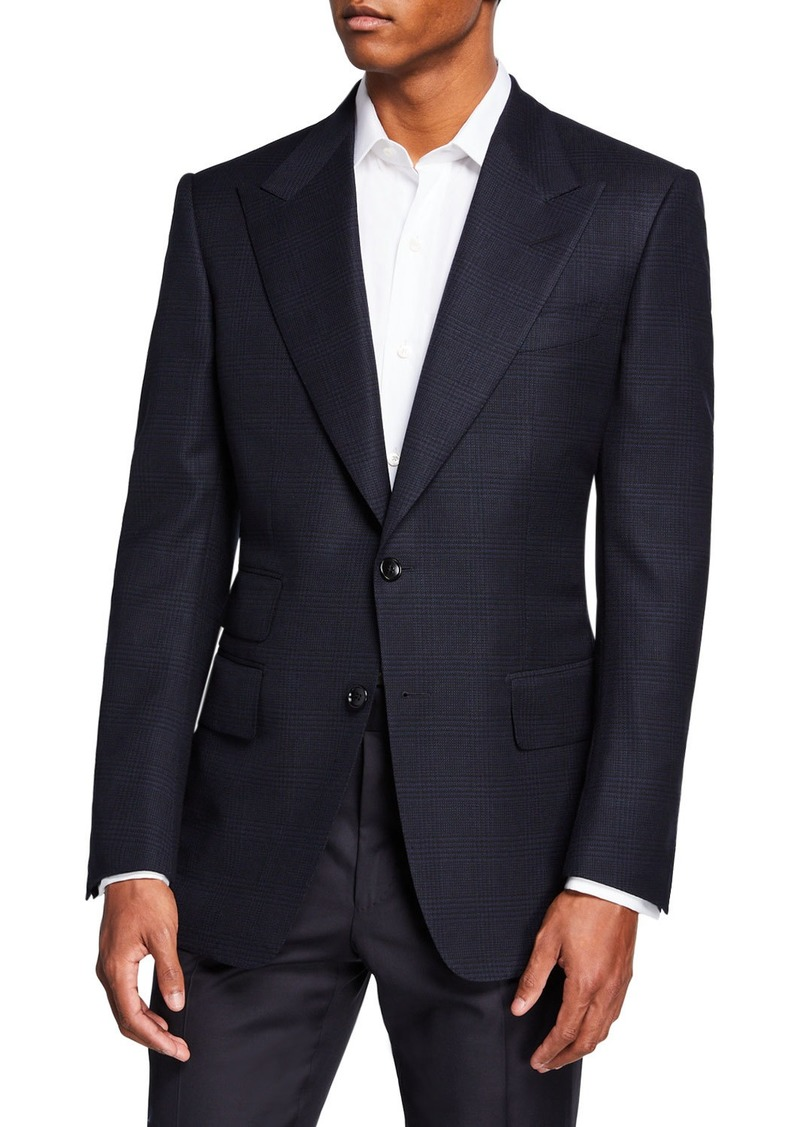 TOM FORD Men's Windsor Peak-Lapel Plaid Jacket