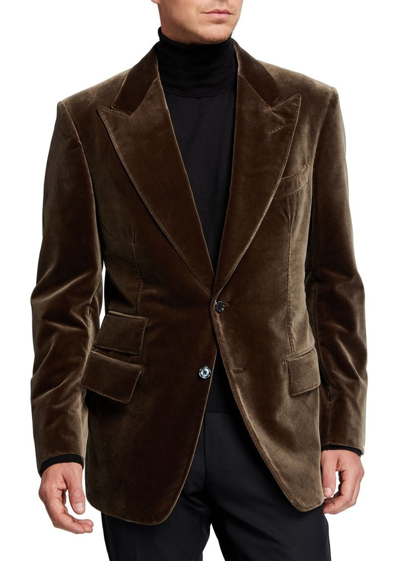 TOM FORD Men's Windsor Peak-Lapel Velvet Jacket