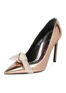 TOM FORD Mirrored Metallic Pumps with Crystal Bow