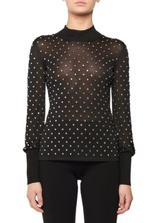 TOM FORD Mock-Neck Long-Sleeve Allover Crystal Embroidered Top
