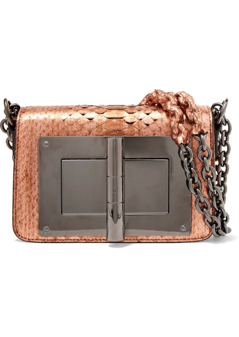 Tom Ford Natalia Small Metallic Python Shoulder Bag