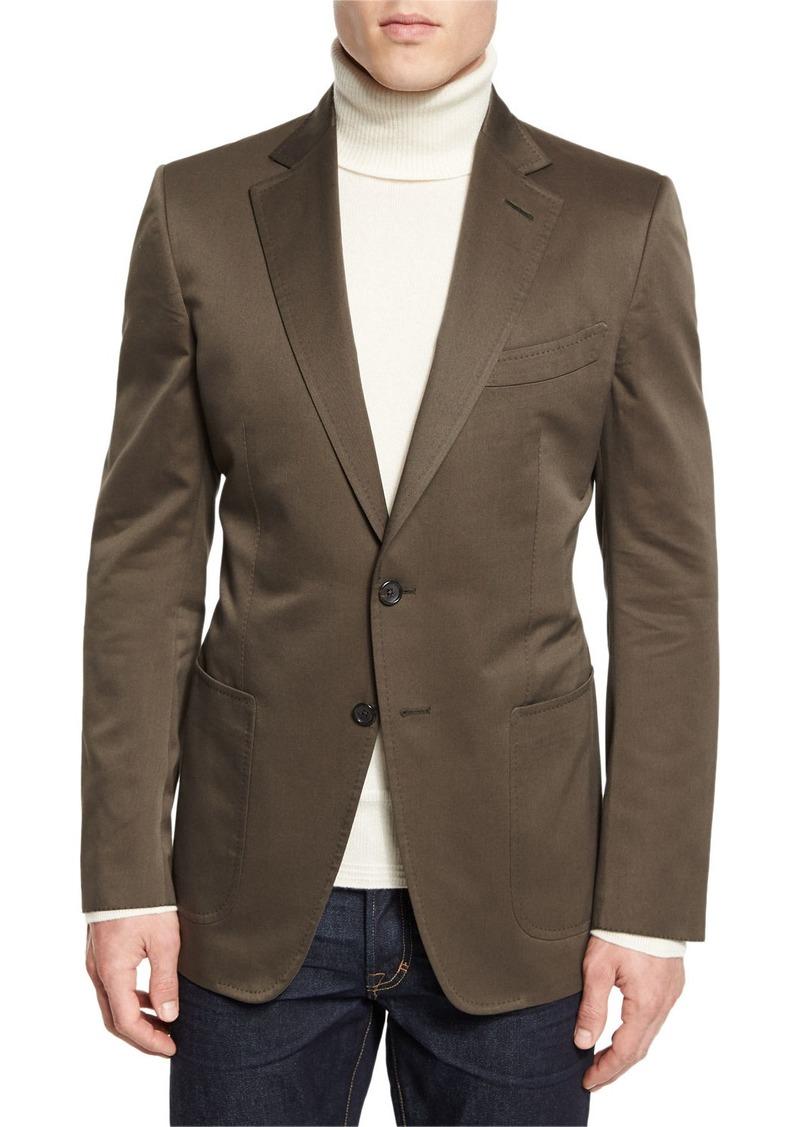 TOM FORD O'Connor Base Gabardine Sport Jacket  Olive
