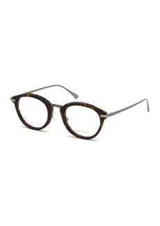 TOM FORD Oval Acetate & Metal Optical Frames  Brown Pattern