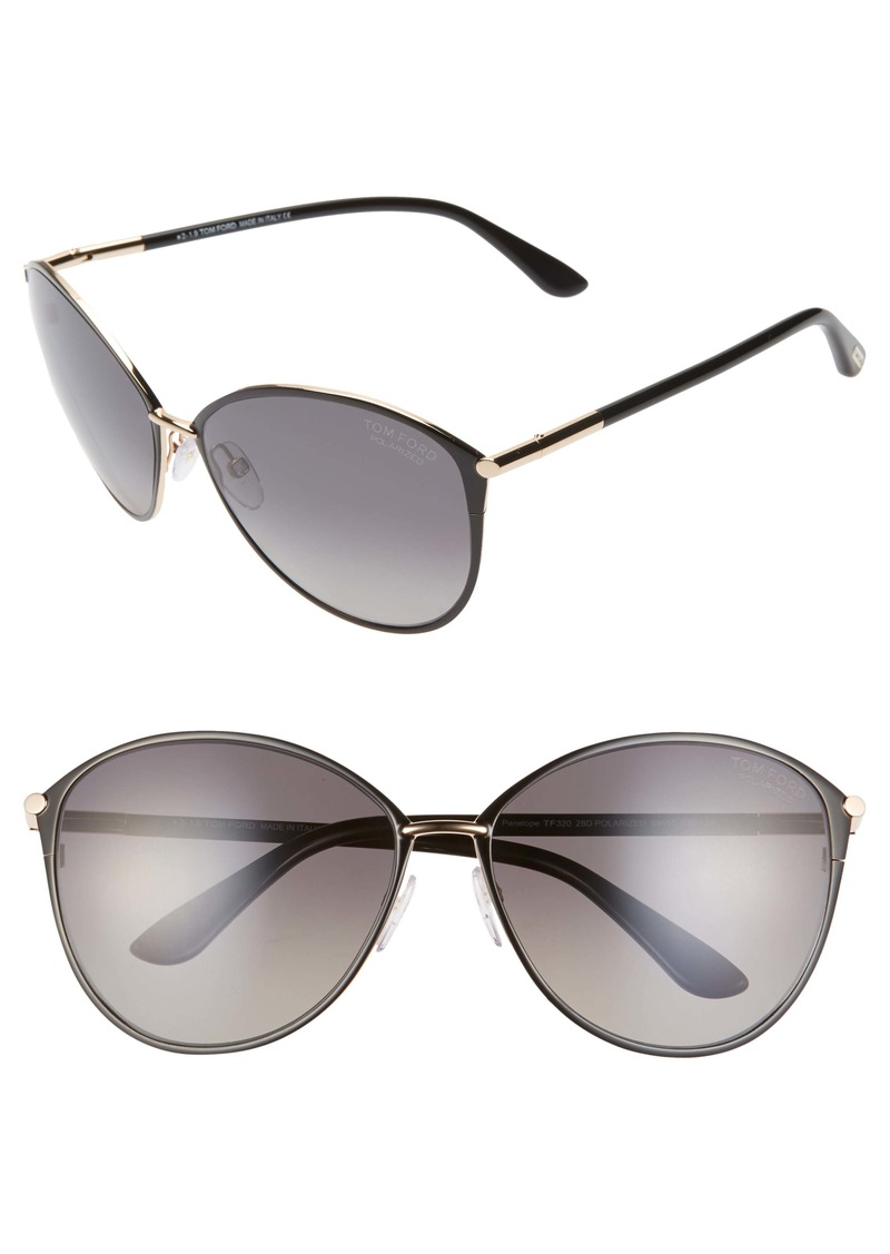 Tom Ford Penelope 59mm Polarized Gradient Cat Eye Sunglasses