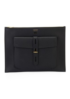 TOM FORD Rialto Flat Leather Pouch Bag