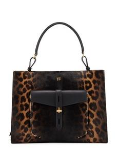 TOM FORD Rialto Medium Leopard Top-Handle Bag