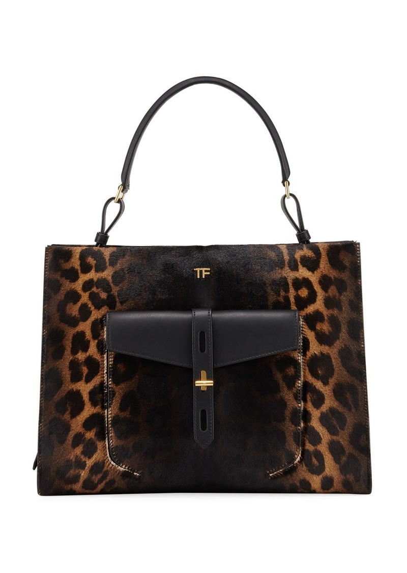 TOM FORD Rialto Medium Leopard Top-Handle Bag