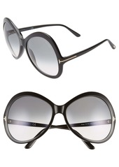 Tom Ford Rose 63mm Gradient Oversize Round Sunglasses