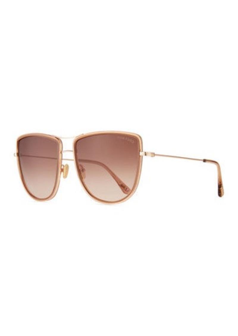 TOM FORD Round Flattop Metal Sunglasses