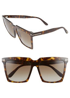 Tom Ford Sabrina 58mm Polarized Gradient Square Sunglasses