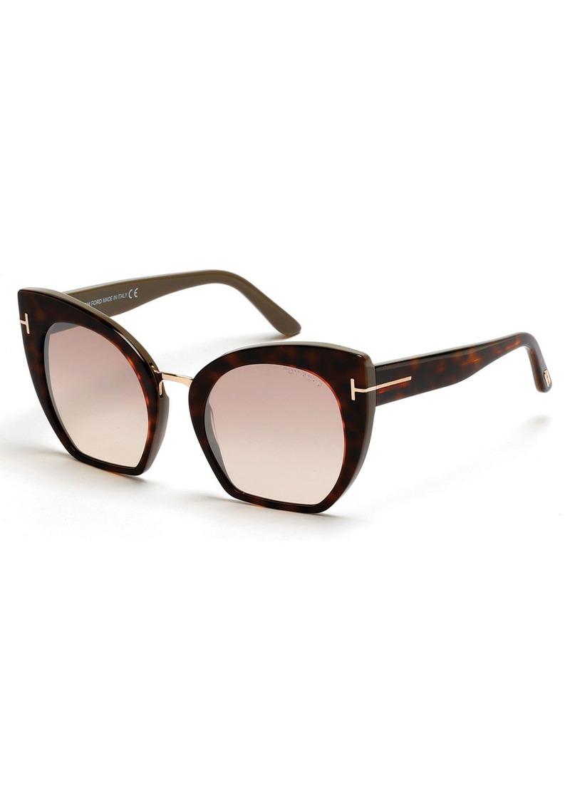 TOM FORD Samantha Cropped Cat-Eye Sunglasses  Brown/Havana