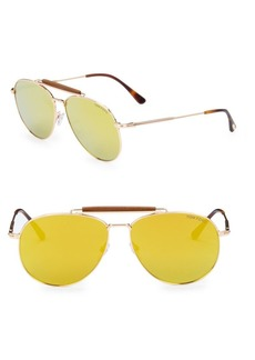 Tom Ford Sean 60MM Mirrored Aviator Sunglasses