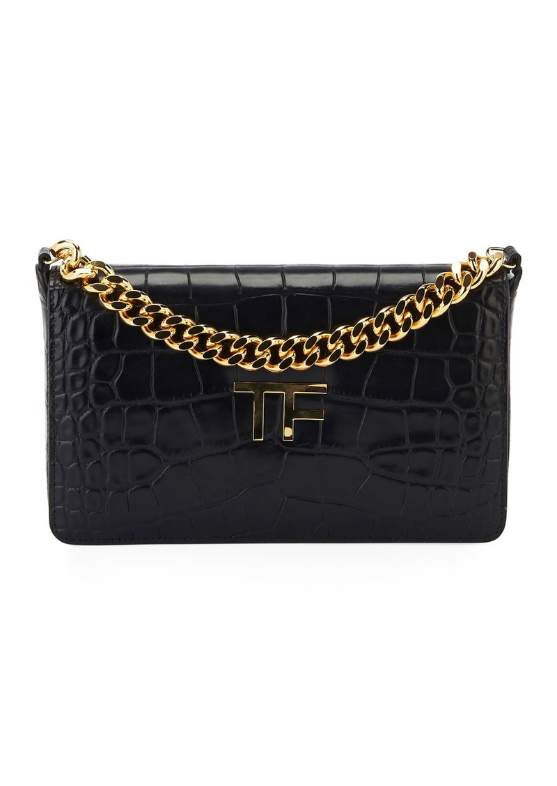 TOM FORD Semi Shiny Soft Alligator Shoulder Bag