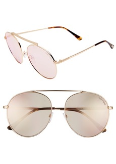 Tom Ford Simone 58mm Gradient Mirrored Round Sunglasses (Nordstrom Exclusive)