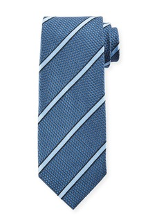 TOM FORD Striped 8cm Silk-Cotton Tie  Blue