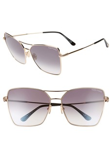 Tom Ford Sye 61mm Butterfly Aviator Sunglasses