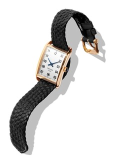 TOM FORD TIMEPIECES Men's 44x30 18K Gold Braided-Leather Large Watch  White/Black