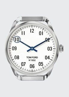 TOM FORD TIMEPIECES Men's Round Polished Stainless Steel Case  White Dial  Large
