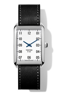 TOM FORD TIMEPIECES N.001 44mm x 30mm Rectangular Leather Watch