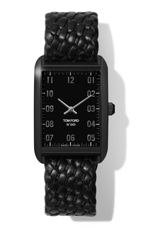 TOM FORD TIMEPIECES N.001 44mm x 30mm Rectangular Woven Leather Watch