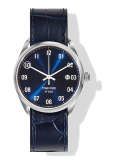 TOM FORD TIMEPIECES N.002 40mm Round Leather Watch  Blue